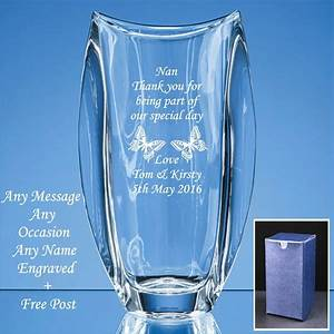 Personalised engraved crystal vase wedding gifts mother for Etched glass wedding gifts