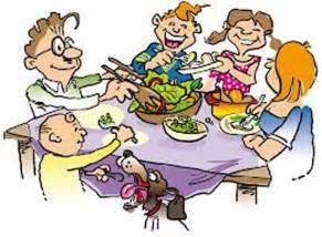 dinner on time with family on dinning table brown hairs