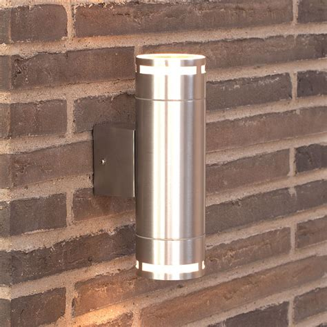 nordlux can maxi outdoor up down wall light silver lyco