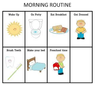 ourhomecreations preschool morning routine chart boy or 832 | b8c3640052e08583ca82e79f39f7e389 morning routine chart morning routines