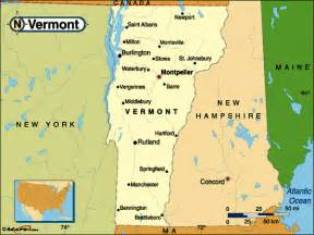 Map of New York and Vermont Border