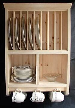 burscough traditional crafted storage wall mounted wooden pine plate rack
