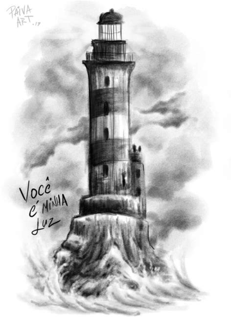 Black and gray watercolor lighthouse tattoo design