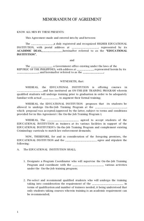 employment contract template word philippines templates