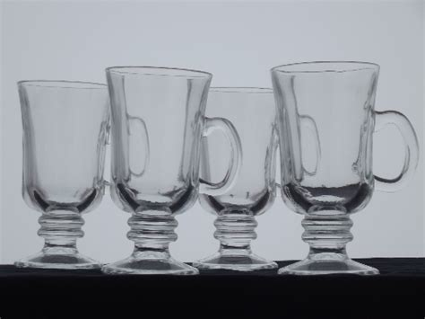 tall cups  irish coffee set   clear glass footed
