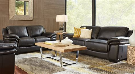 black leather living room set home grand palazzo black leather 3 pc 16837