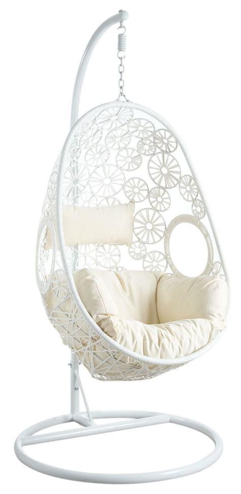 fauteuil oeuf blanc en polyresine sur pied