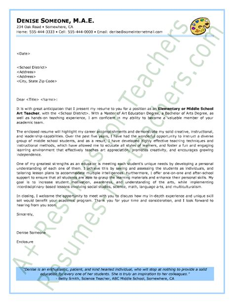 art teacher cover letter sample job search sample