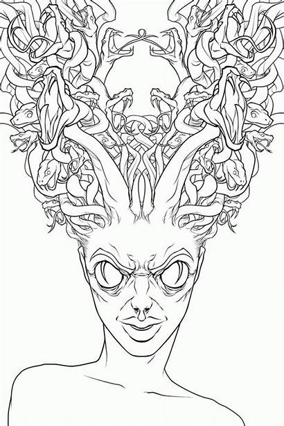 Coloring Medusa Creepy Sheets Pages Hideous Drawing