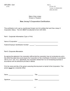 Form CBT-2553 Fillable S Corporation Election