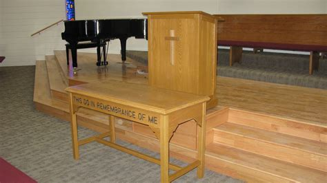 farmhouse home designs handmade a church communion table and pulpit by tom 39 s