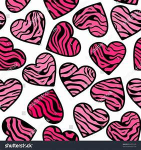 Zebra Print Pink Hearts. Seamless Background Stock Vector ...