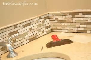Inexpensive Kitchen Backsplash Updating A Vanity With A Custom Tile Backsplash The Six Fix