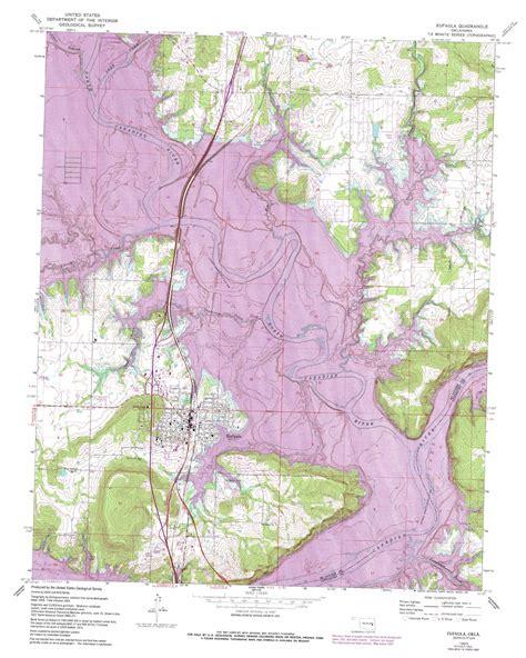 Lake Eufaula Topo Map Of Lake Eufaula Ok