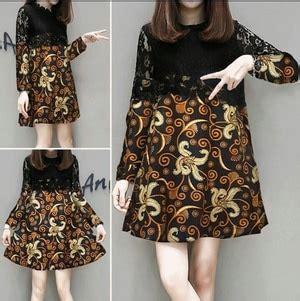 baju mini dress pendek wanita motif batik lengan panjang