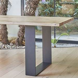 Table de séjour esprit industriel extensible en chêne massif et métal Oregon 4 Pieds