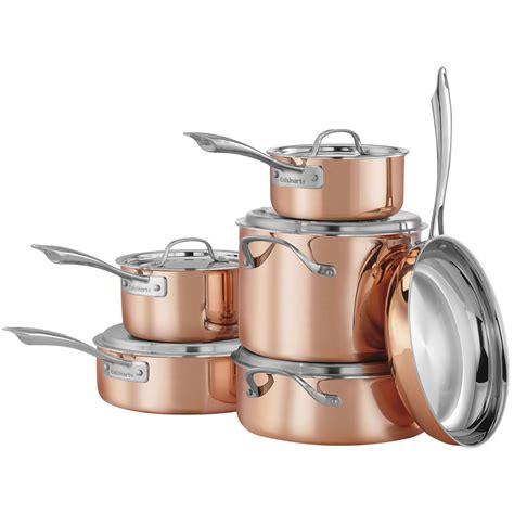 cuisinart copper tri ply stainless steel  piece cookware set ctpg pc walmartcom walmartcom