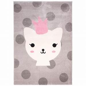 Bild Rosa Grau : kinderteppich katze 120x170cm rosa grau von nattiot ~ Frokenaadalensverden.com Haus und Dekorationen