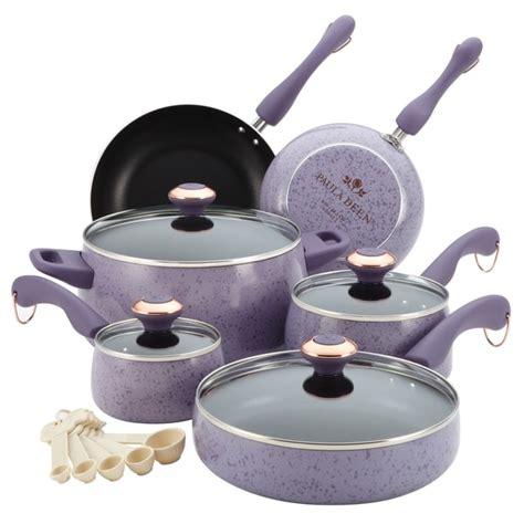 paula deen signature collection porcelain nonstick  piece lavender speckle cookware set