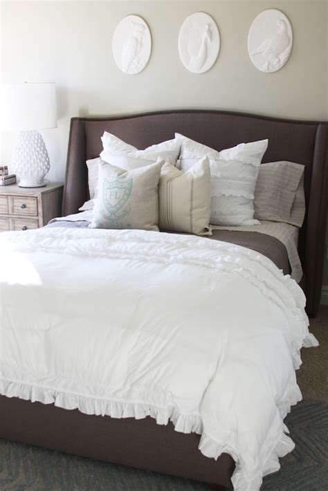 bedroom with grey upholstered headboard wingback upholstered headboard contemporary bedroom