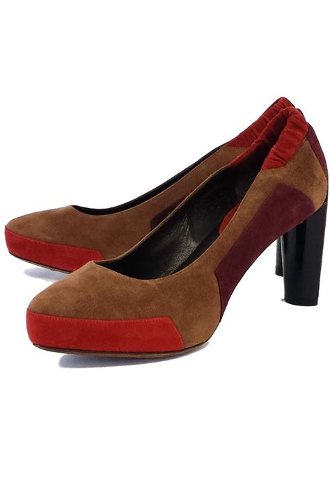 taupe color heels taupe coral colorblock suede heels sz 8 5