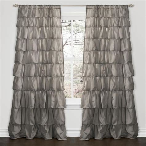 Lush Decor Ruffle Curtains by Lush Decor Grey 84 Inch Ruffle Curtain Panel Overstock