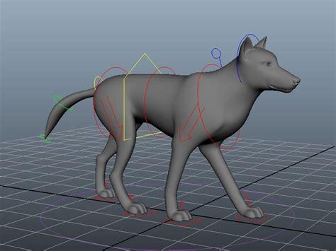 animated wolf rig  model maya files