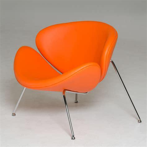 modrest anais mid century orange leatherette accent chair