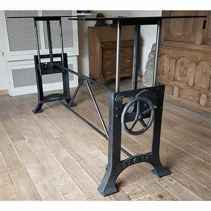 Adjustable Base Industrial Crank Height Table Dt