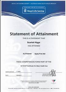 Scarlett entertainment hsc 2012 first aid certificates for Certificate of attainment template