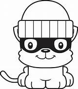 Cat Burgler Illustrations Thief Kitten Smiling Cartoon Clip sketch template
