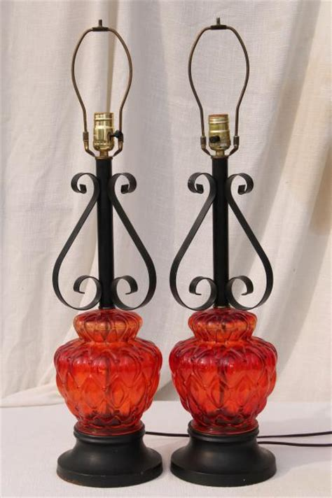 vintage retro flame red glass lamps  gothic black