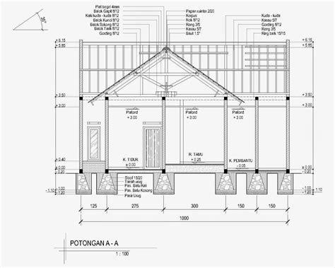 membuat denah rumah sederhana  autocad desain