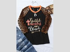 Grateful Thankful And Blessed Leopard Printed Baseball T