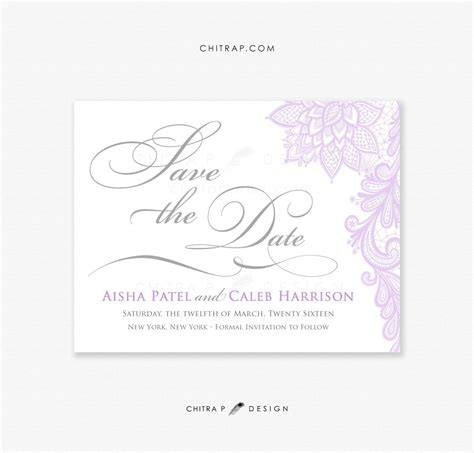 Purple Silver Save the Date Cards Printed Lace Grey