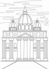 Coloring Cathedral Baroque Colorless Stress Outline Adults Anti sketch template