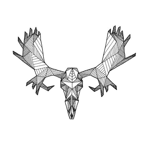 Detailed Geometric Moose Skull Drawing Digital Art