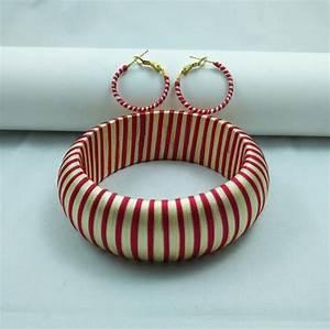 Yaalz Trendy Bangle  U0026 Earring In Red With Cream Combo