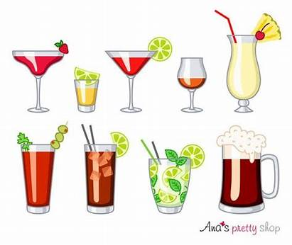 Alcohol Clipart Drinks Glasses Cocktail Tequila Rum