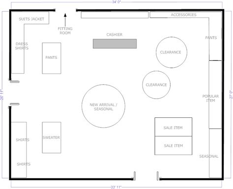 shop design layout boutique free flow layout floor plans