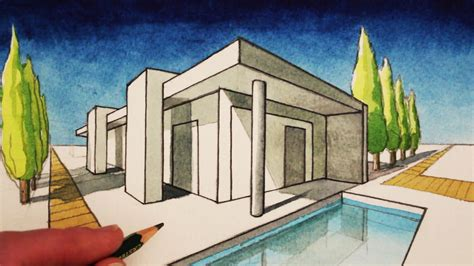 drawn house  point perspective pencil   color