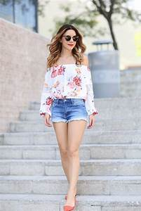 Trendy off Shoulder Top with Shorts Summer Dressing Ideas u2013 Designers Outfits Collection