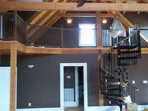 cabin interior great room view of loft wall color With interior paint colors for log homes