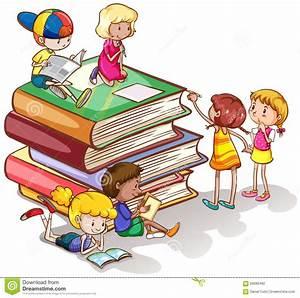 Kids Reading Books Together Stock Vector - Illustration of ...