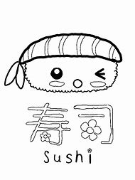 Cute Kawaii Sushi Coloring Pages Printable