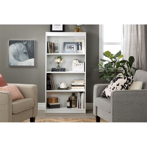 South Shore White Bookcase by South Shore 4 Shelf Contemporary Bookcase In White