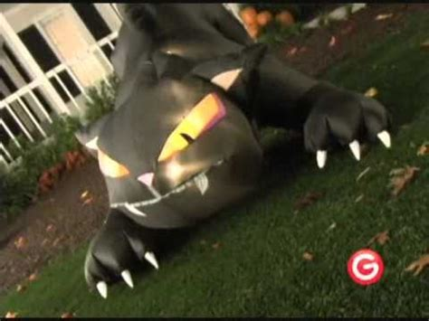 animated airblown huge inflatable black cat with moving