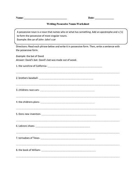 writing with possessive nouns worksheet teaching ideas