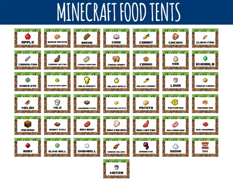minecraft cuisine minecraft food labels minecraft food tents littlelight