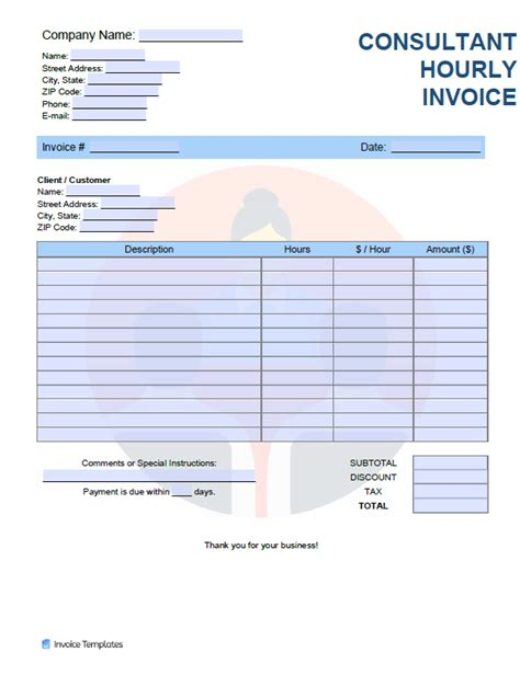 consultant hourly rate hr invoice template